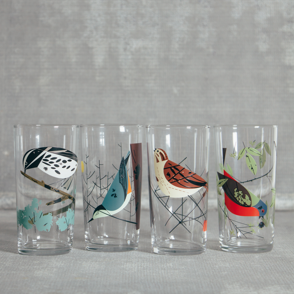 Oldham + Harper Birds Glasses Box Set Fishs Eddy Relish Decor