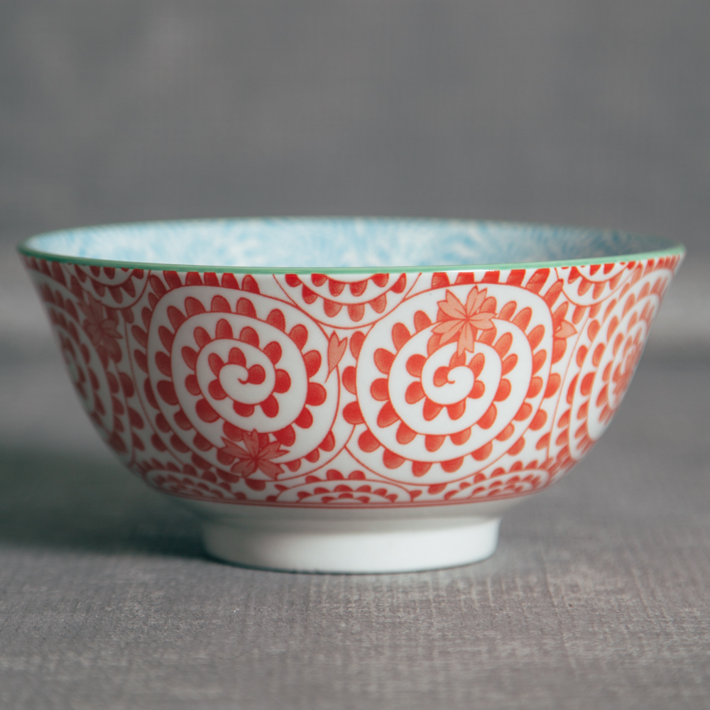 Akita Stamped Bowl Orange Spiral Relish Decor