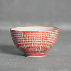 Amy Stamped Bowl Red Geometric Design Relish Decor