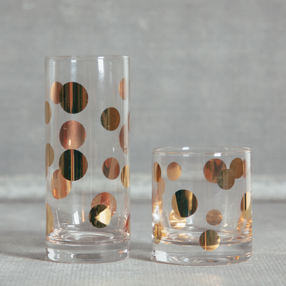 Andy Gold Dot Glassware Barware Relish Decor