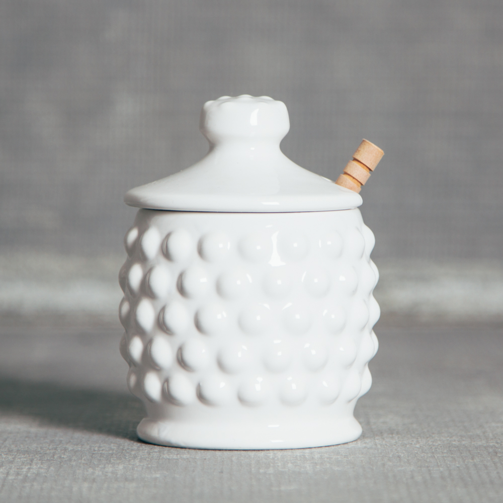 Audrey Hobnail Honey Jar Relish Decor