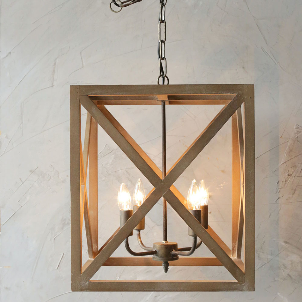 Box Wood Chandelier Lamp Relish Decor