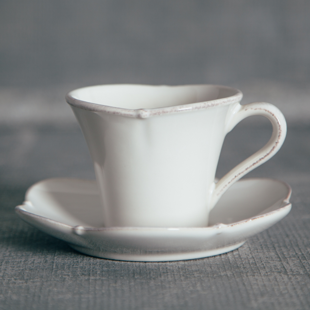 Casafina Meridian White Plain Tea Cup and Saucer Relish Decor & Meridian Scalloped White Dinnerware Sets - Relish Decor