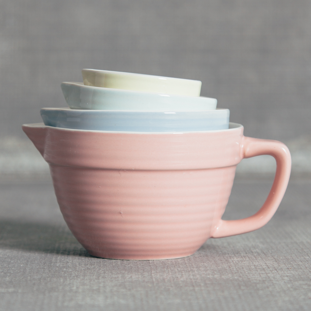 Ceramic Stoneware Measuring Cup Batter Bowl Style Sets Pastel Relish Decor