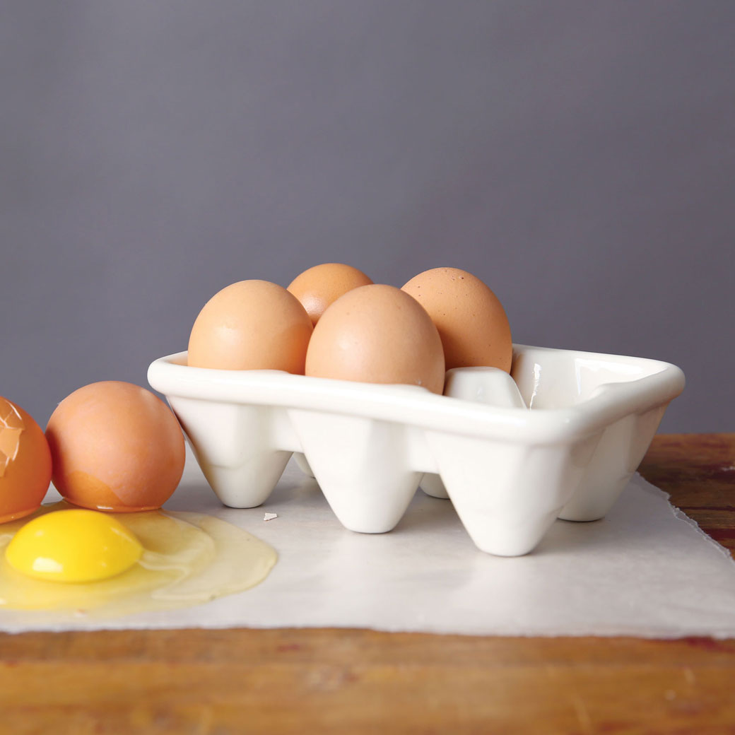 Ceramic White Egg Crate Relish Decor