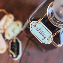 Chez Elle Decanter Tags Gold Whiskey Relish Decor