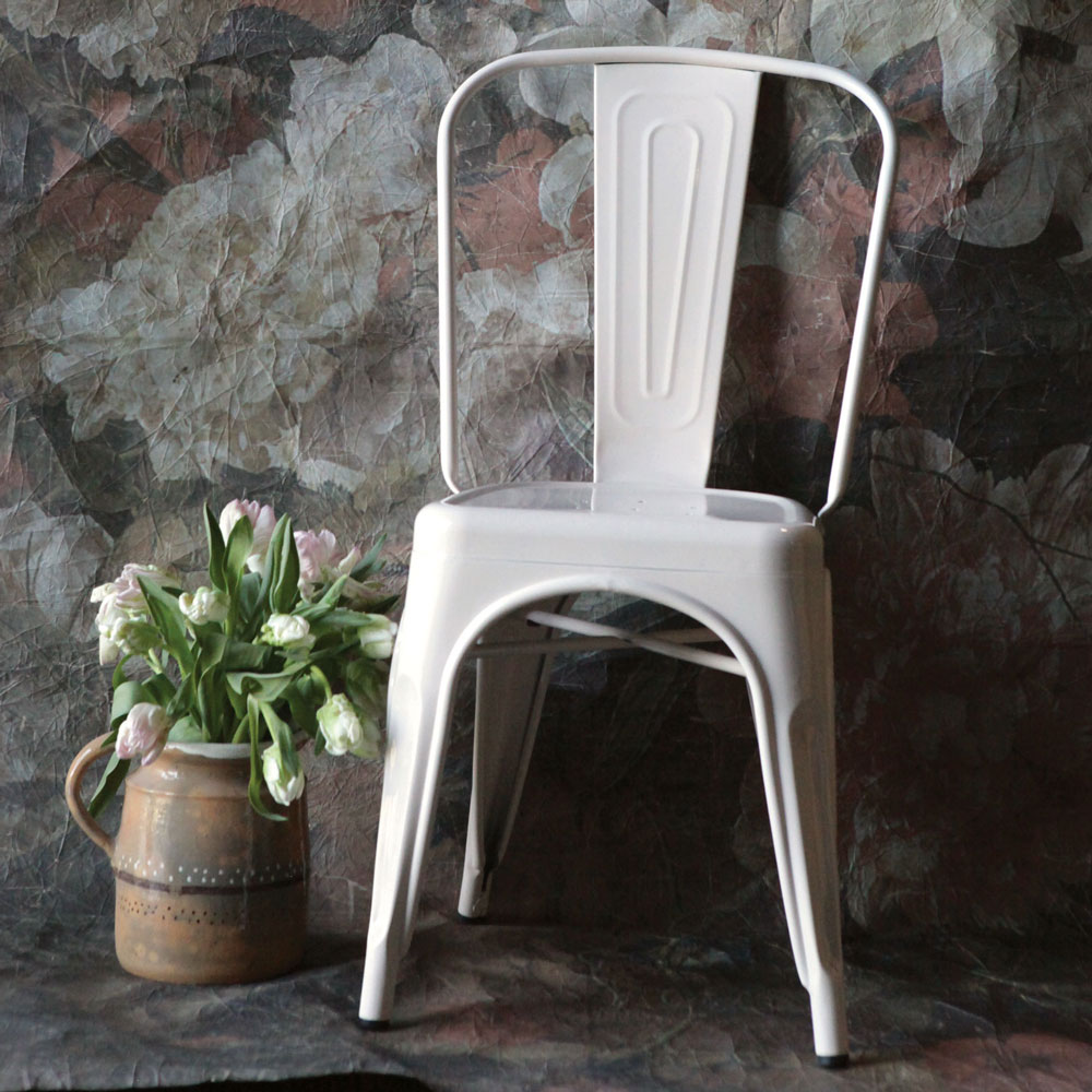 Clara Cream Industrial Metal Chair Relish Decor