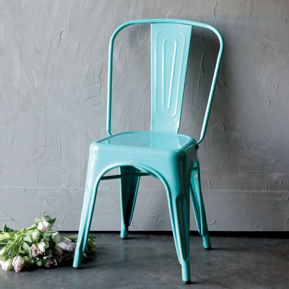 Clara Dining Chairs Turquoise Blue Metal Industrial Chair Relish Decor