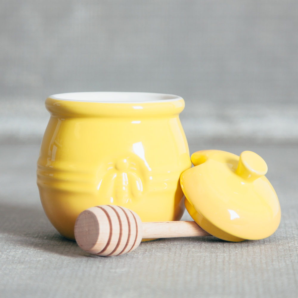 Essential Bee Honey Pot with Dipper Relish Decor
