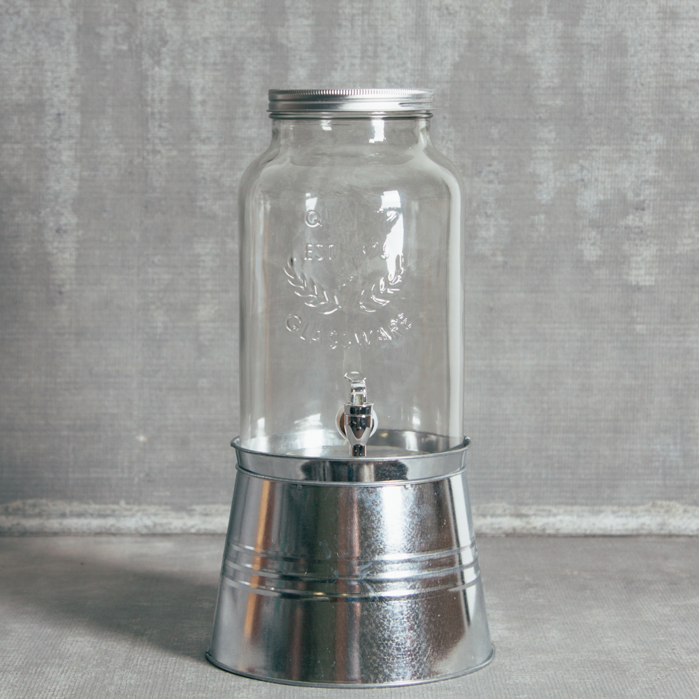 Essential Drink Dispenser Galvanized Metal Base Relish Decor
