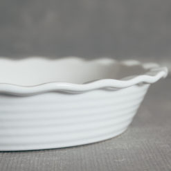 Essential Pie Plate White Ruffled Relish Decor