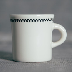 Fishs Eddy Diner Whites Checkerboard Coffee Mug Relish Decor