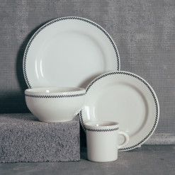 Fishs Eddy Diner Whites Checkerboard Dinnerware Collection Relish Decor