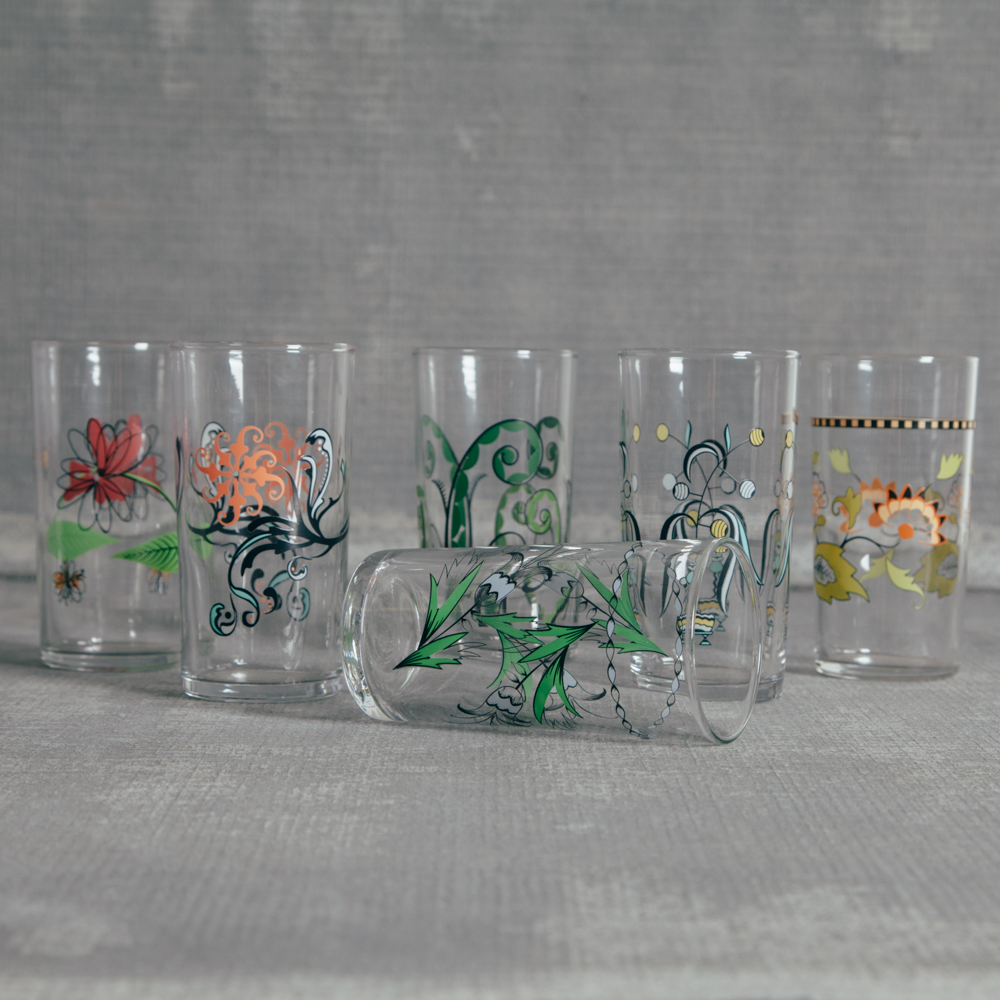 Fishs Eddy Italian Glassware Collection Relish Decor Set of 6
