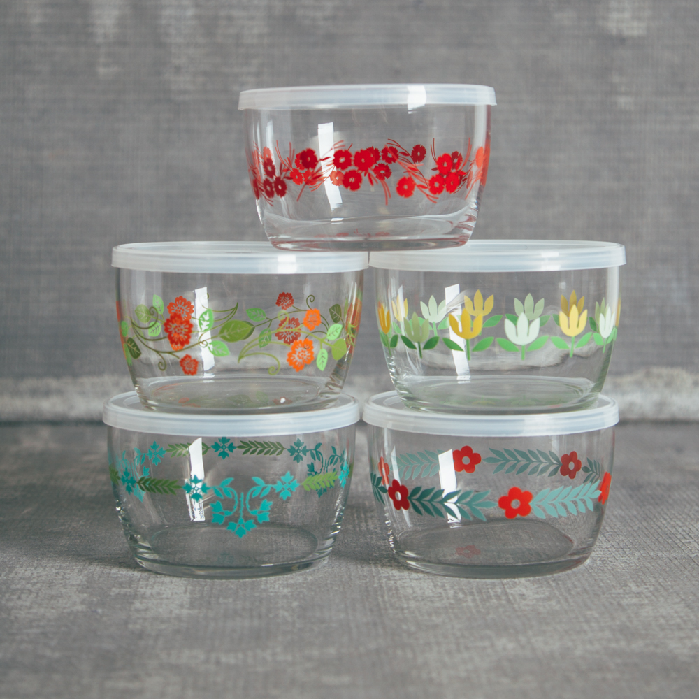 Fishs Eddy Vintage Floral Glass Storage Bowl Set Relish Decor
