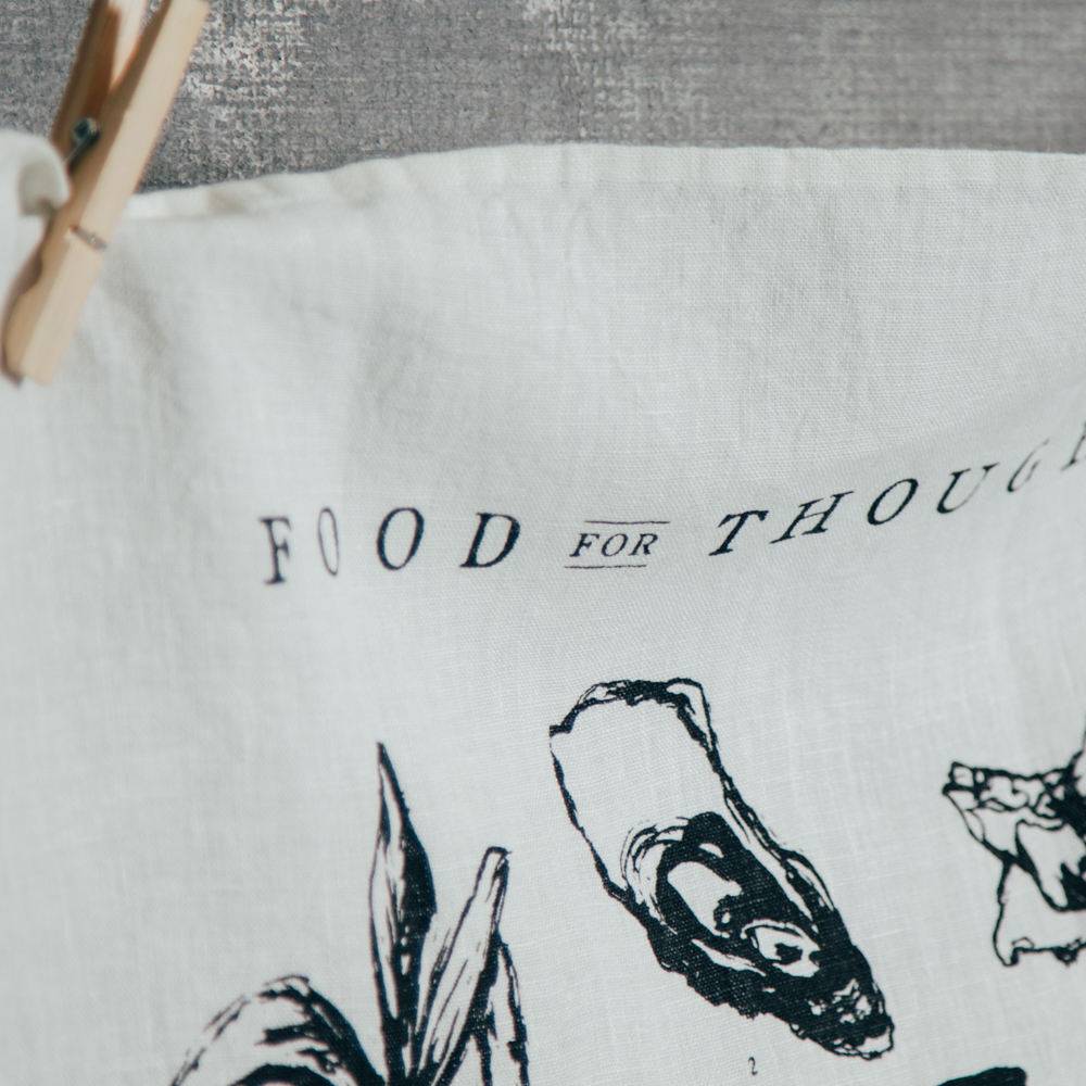 Food for Thought Pure Linen Towel Sir Madam for Relish Decor