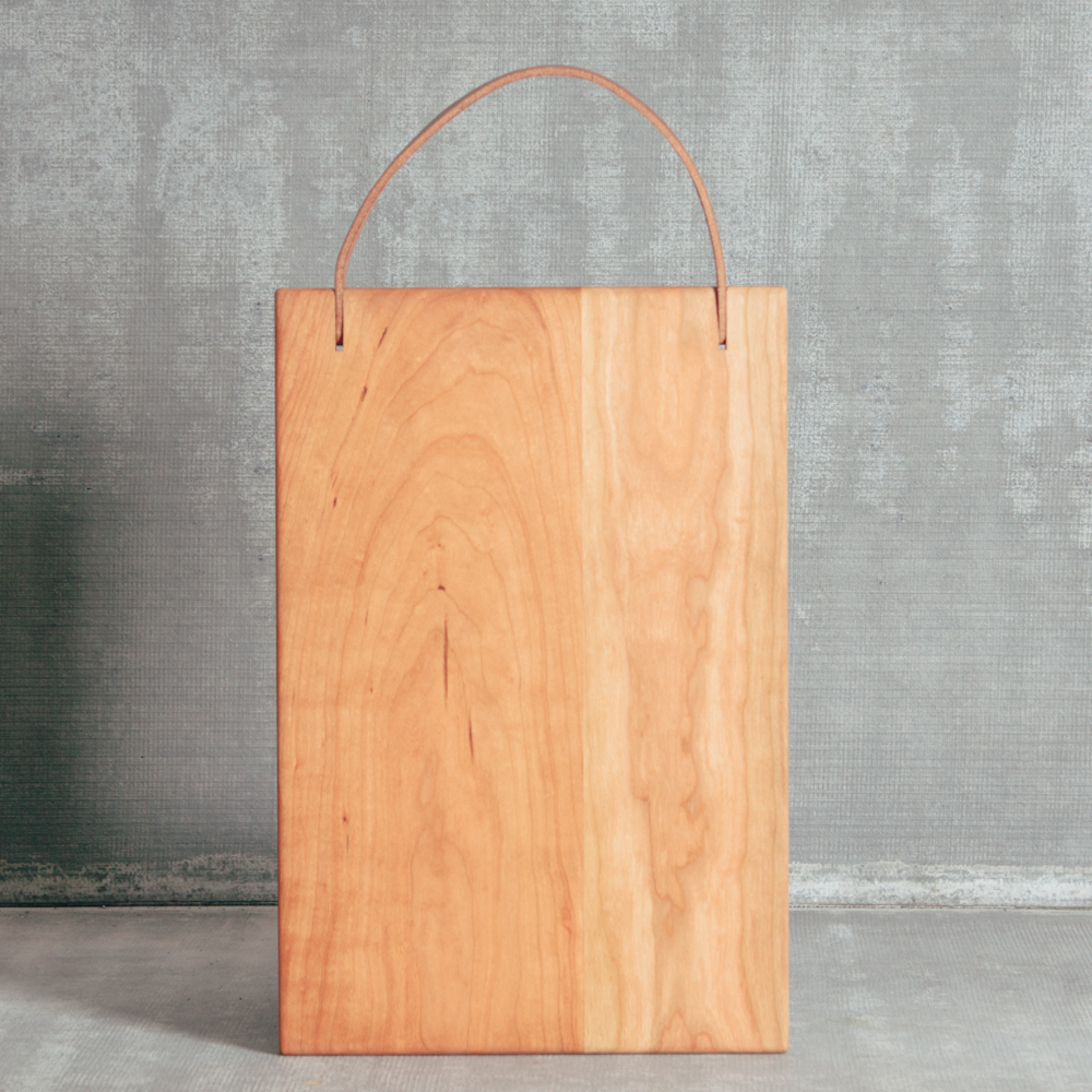 Franklin Cherry Large Natural Wood Cutting Board Leather Handle American Made in the USA Relish Decor