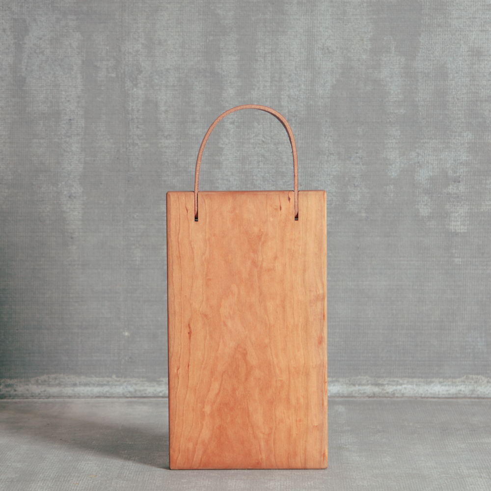 Franklin Cherry Wood Serving Cutting Board Leather Handle American Made in the USA Relish Decor