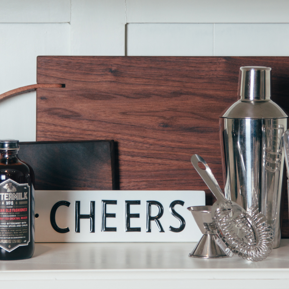 Franklin Cutting Board Black Walnut Cheers Sign Barware Cocktail Shaker Shelf Display Relish Decor