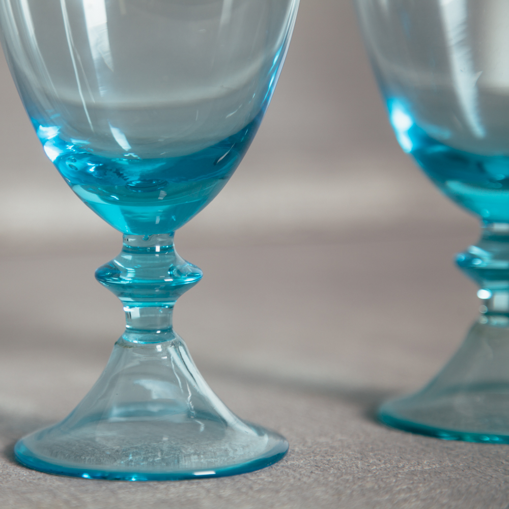 Glacee Handblown Glassware Turquoise Aqua Blue Relish Decor