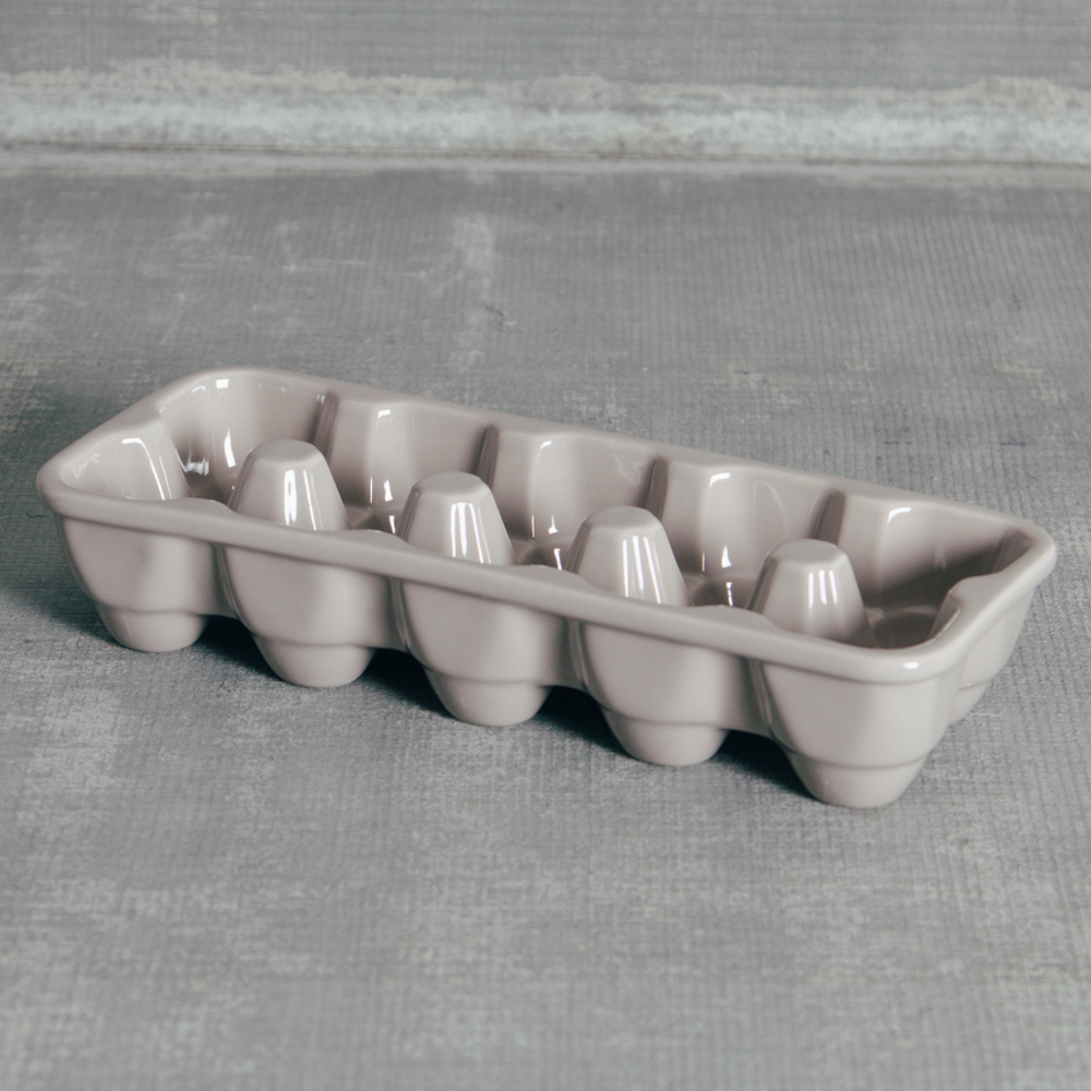 Grey Ceramic Egg Crate Basket Relish Decor