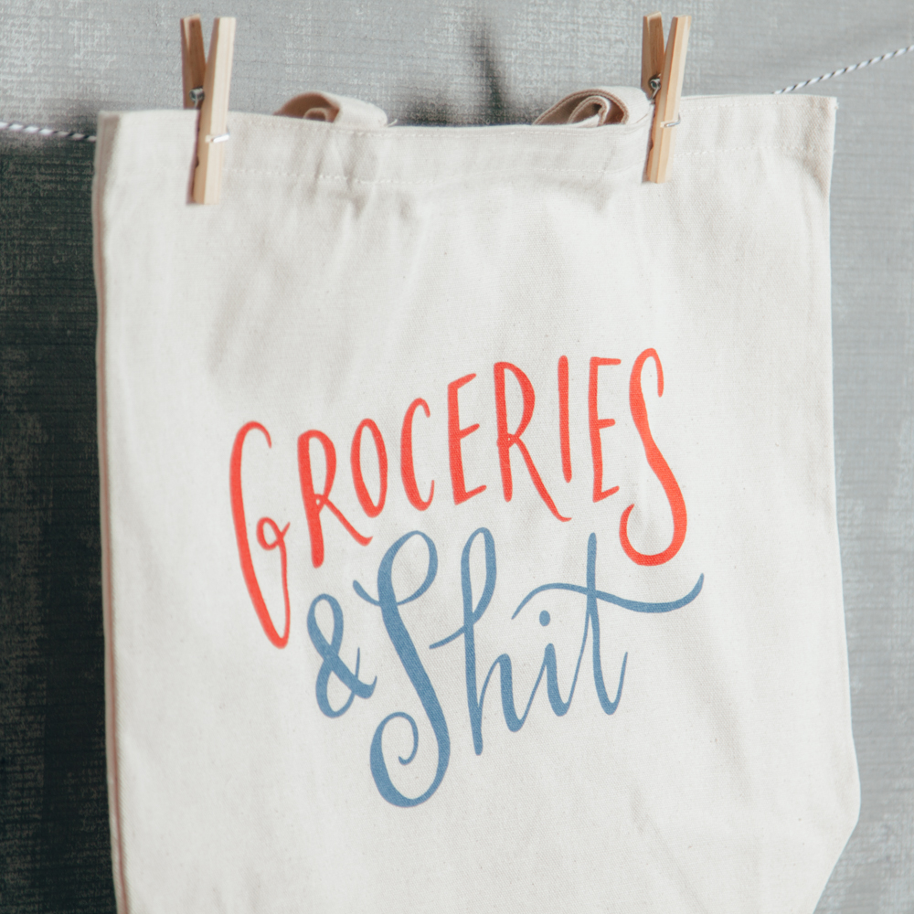 Groceries & Shit Canvas Tote Bag Relish Decor
