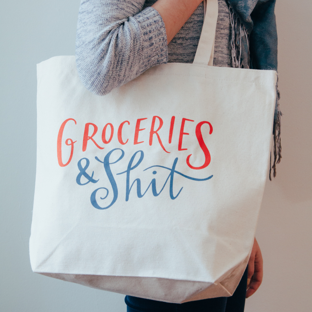 Groceries and Shit Canvas Market Tote Bags Relish Decor