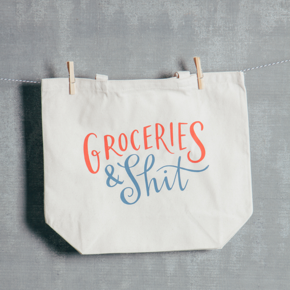 Groceries and Shit Canvas Tote Bag Relish Decor