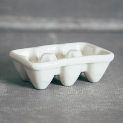 Half Dozen Egg Crate White Ceramic Relish Decor
