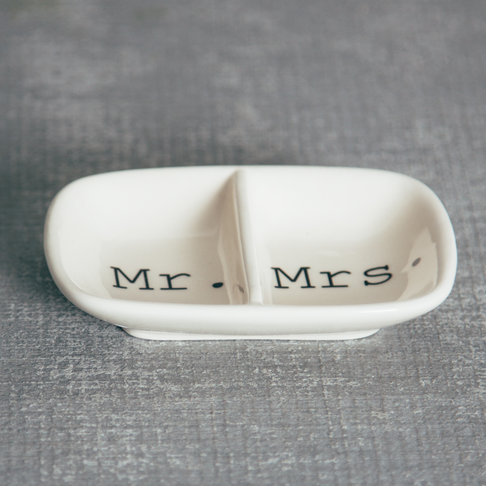 Happy Couple Mr Mrs Wedding Ring Dish Relish Decor
