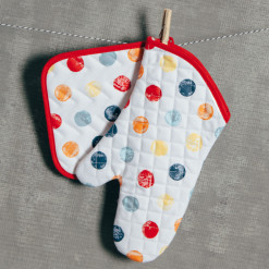 Happy Days Polka Dot Multi Color Pot Holder and Oven Mitt Set Relish Decor
