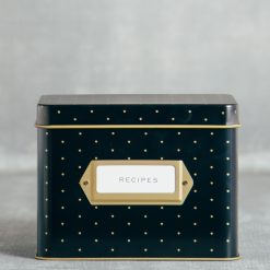 rifle paper company black polka dot recipe box tin relish decor detail