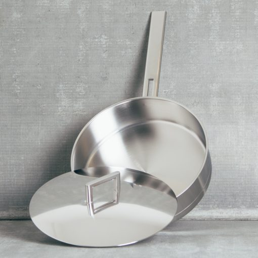 demeyere zwilling john pawson stainless steel professional cookware saute pan with lid open