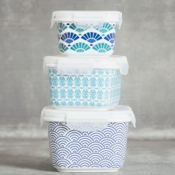Relish Decor Akita Stamped storage container snack and serve blue pattern