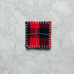 Relish decor buffalo plaid check red coaster
