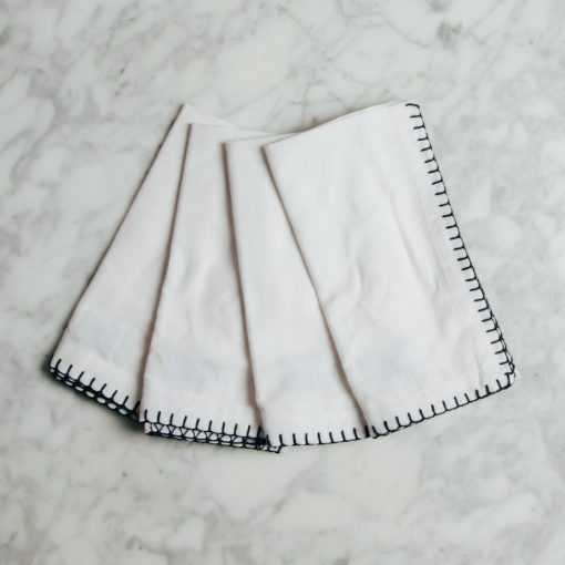 Relish decor blanket stitch laura napkins ivory white