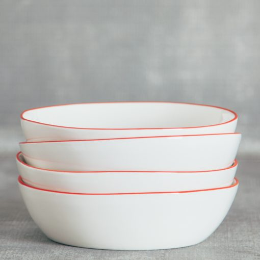 Relish Decor Canvas Home Abbesses Red Pasta Bowl Set