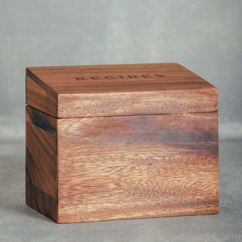 acacia wood recipe box 1 canoe 2 relish decor