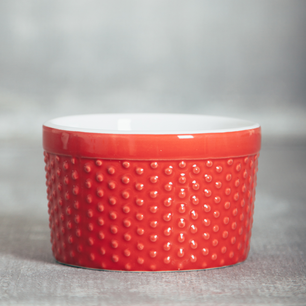 Audrey Large hobnail dot ramekins relish decor red