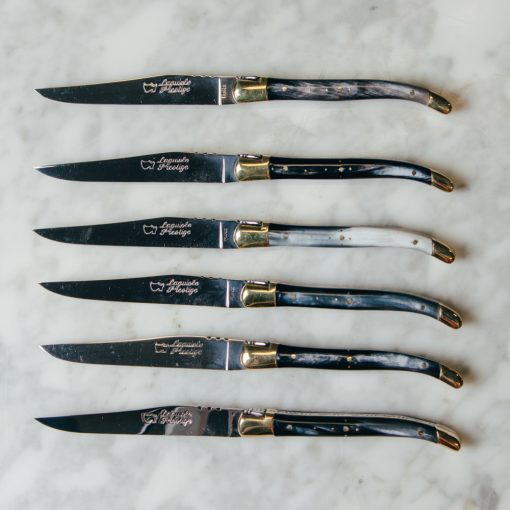 laguiole prestige steak knife set in box french authentic relish decor horn and brass 2