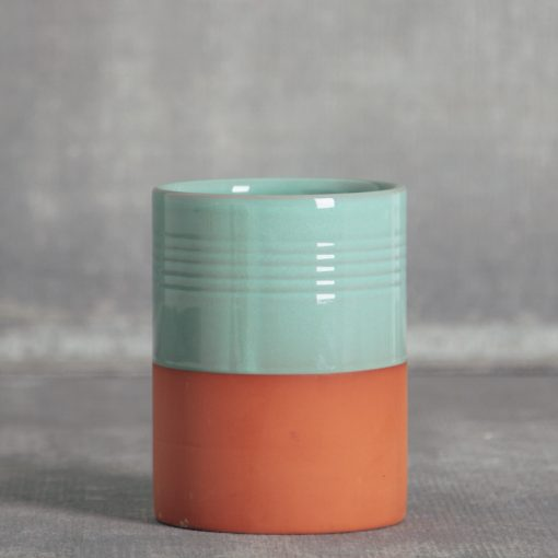 hellen canister utensil holder terra cotta relish decor teal