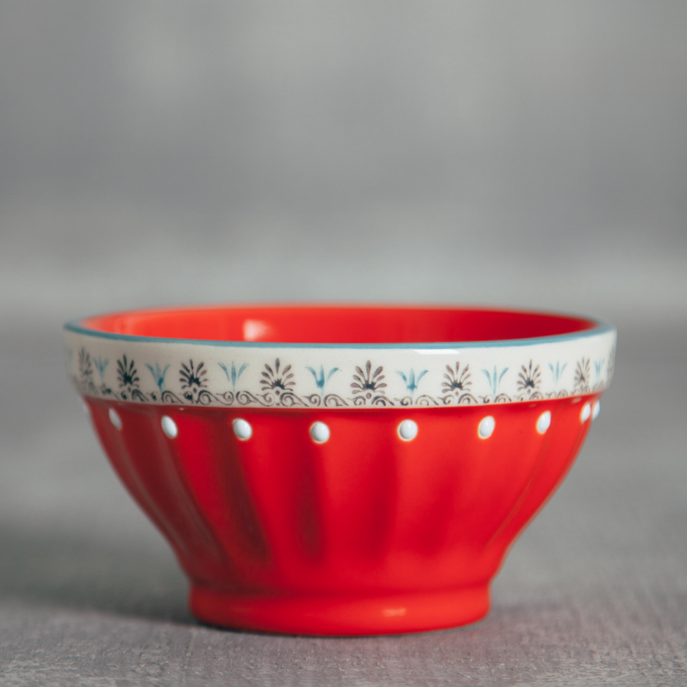 Lillie Painted Nut Bowl Relish Decor red