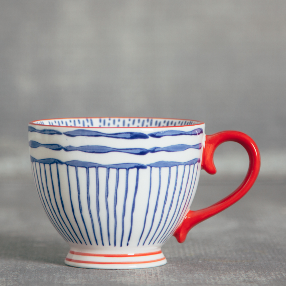 fiesta coffee mug relish decor blue stripe