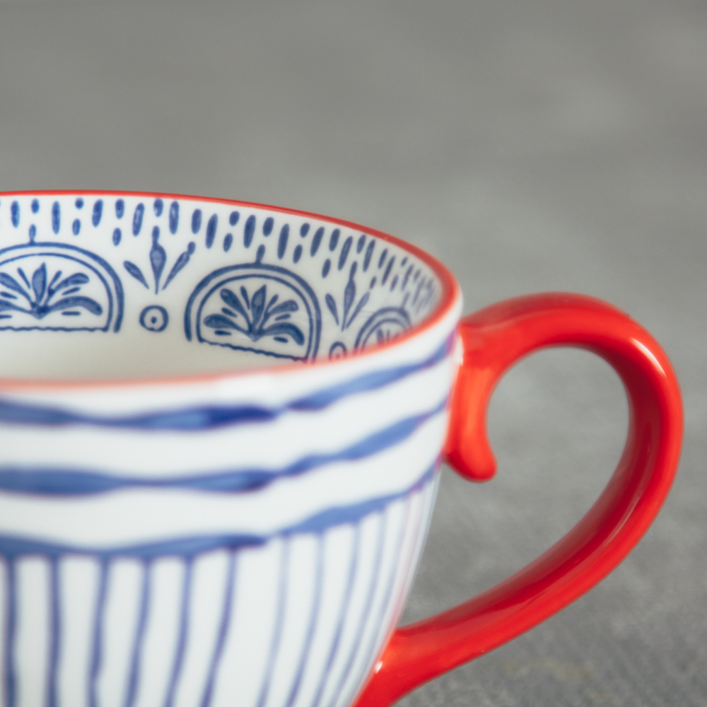 fiesta coffee mug relish decor blue stripe detail