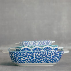 akita pattern blue bakeware relish decor
