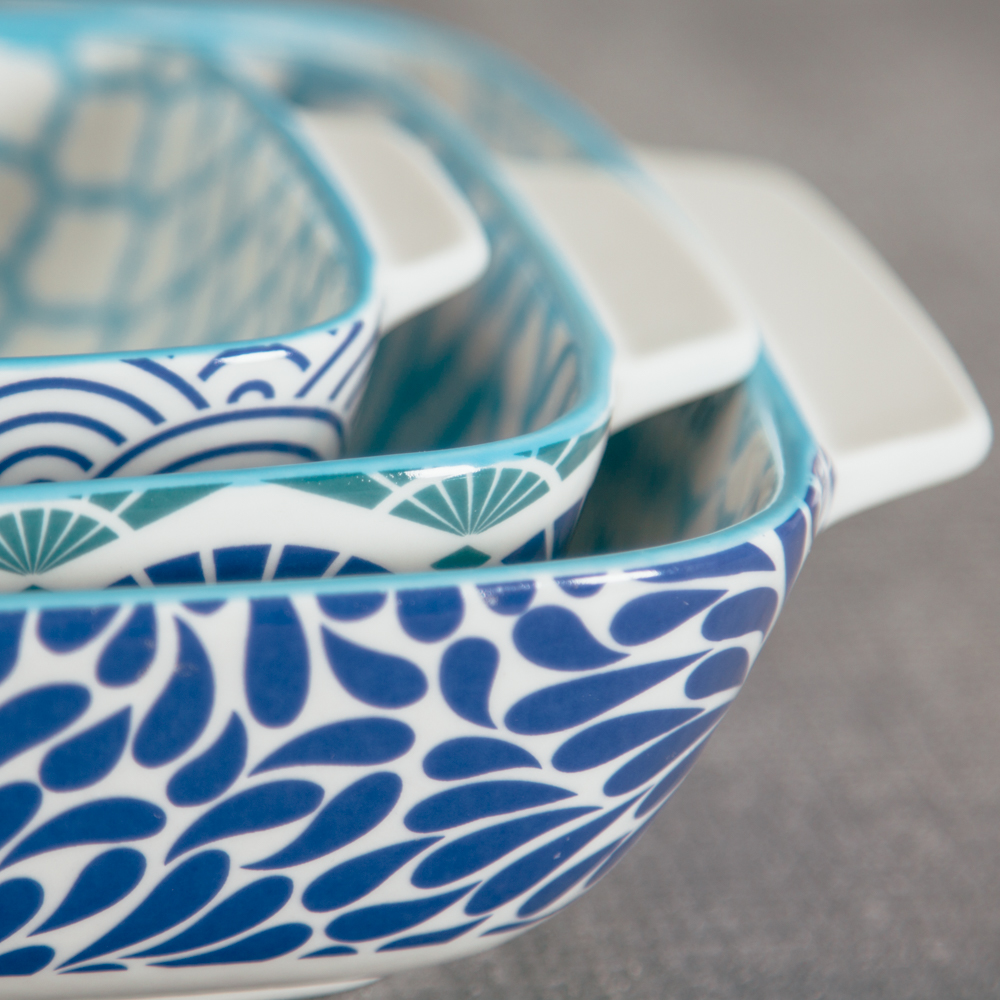akita pattern blue bakeware relish decor detail