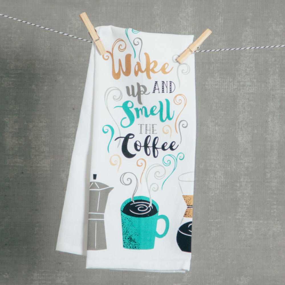 wake up coffee tea dish towel relish decor