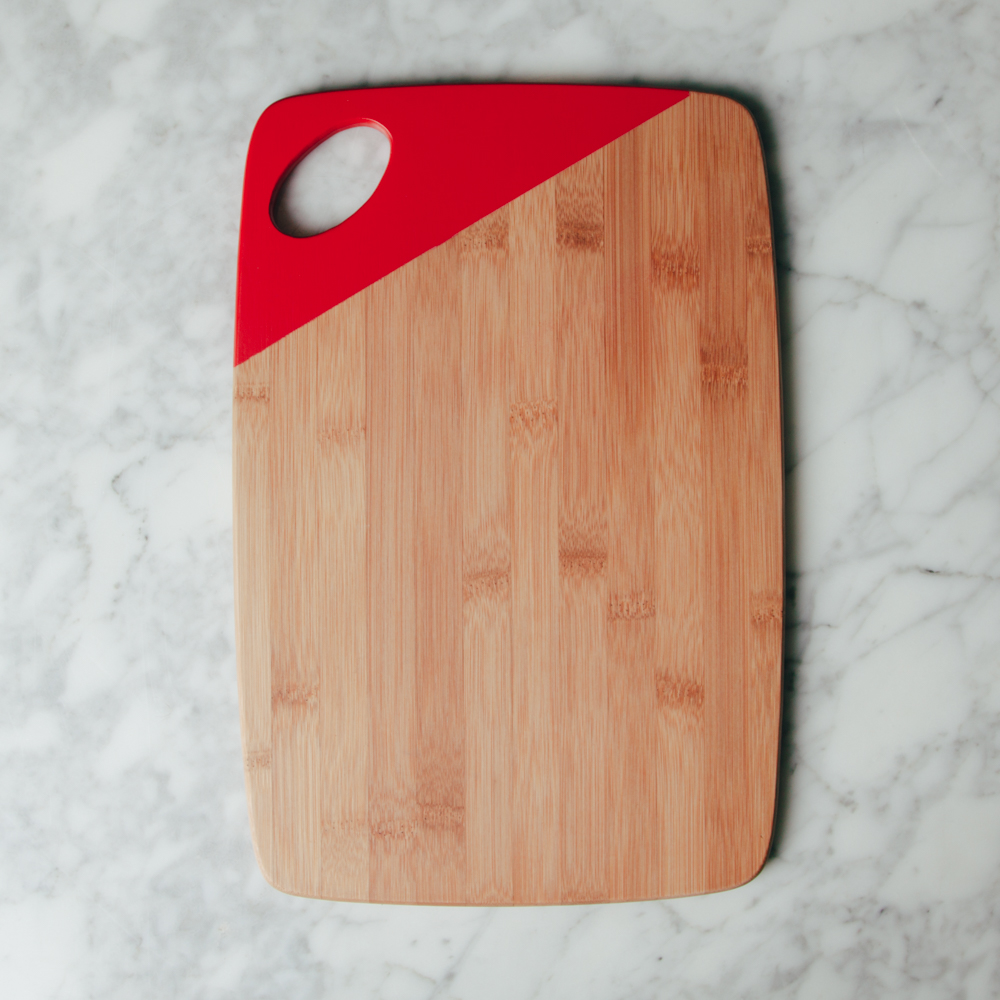 Essential bamboo cutting board relish decor red