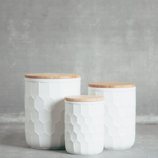 relish decor tupelo honeycomb canisters containers matte white