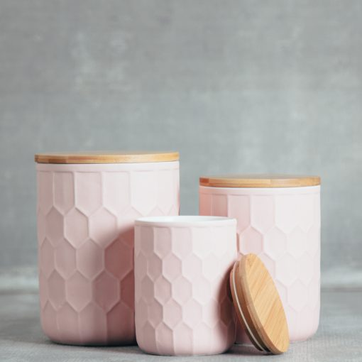 relish decor tupelo honeycomb canisters containers matte blush